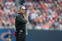 06 October 2013: Head coach Sean Peyton of the New Orleans Saints coaches against the Chicago Bears during the Saints 26-18 victory over the Bears in an NFL Game at Soldier Field in Chicago, IL.