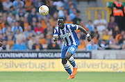 Debutant Brighton winger, Elvis Manu gives chase during the Sky Bet Championship match between Wolverhampton Wanderers and Brighton and Hove Albion at Molineux, Wolverhampton, England on 19 September 2015.