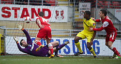 LONDON, ENGLAND - Saturday, February 9, 2013: Tranmere Rovers' goalkeeper Owain Fon Williams is beaten by Leyton Orient's Charlie MacDonald for the opening goal during the Football League One match at Brisbane Road. (Pic by David Rawcliffe/Propaganda)