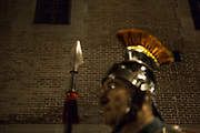 The Roman Legion of Mataró, the Armats of Mataró, in the city center of Mataró. Silence night procession in Maundy Thursday at the city center of Mataró city (Barcelona), during Easter 2015. Eva Parey/4SEE.