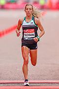 Emily Sisson (USA) approaching the finish line in the Women's Elite race, during the Virgin Money 2019 London Marathon, London, United Kingdom on 28 April 2019.