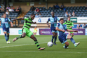 Forest Green Rovers Dale Bennett(2) goes to take a shot during the EFL Sky Bet League 2 match between Wycombe Wanderers and Forest Green Rovers at Adams Park, High Wycombe, England on 2 September 2017. Photo by Shane Healey.