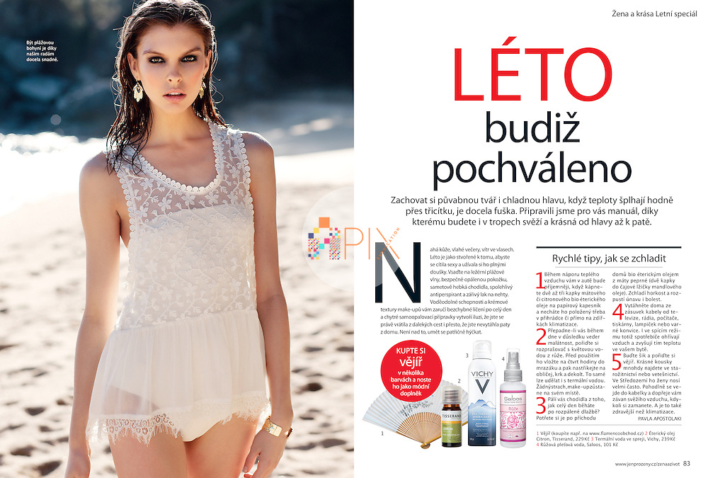 'Praise summer', a gorgeous 9-page beauty feature in Žena a život magazine, Czech Republic.  <br /> <br /> Images from our shoot 'daydreaming' which is available for worldwide use with approval:  http://www.apixsyndication.com/gallery/daydreaming/G0000RoWD5qmgRtI/C0000l3vSsK5U9lw