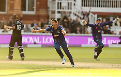 Gloucestershire's David Payne celebrates the winning wicket - Mandatory byline: Robbie Stephenson/JMP - 07966 386802 - 19/09/2015 - Cricket - Lord's Cricket Ground - London, England - Gloucestershire CCC v Surrey CCC - Royal London One-Day Cup Final
