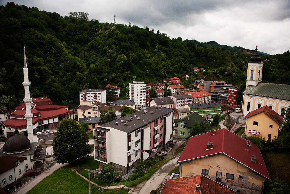 Downtown Srebrenica seen from an abandoned hotel on the hill above the city center with nearby central mosque and Serbian Orthodox Church...Matt Lutton for The International Herald Tribune..Capture of Ratko Mladic. Srebrenica, Bosnia and Herzegovina. May 29, 2011.