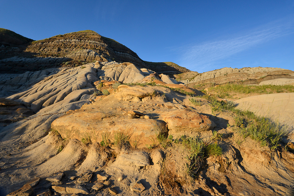 Part of the amazing desert-like landscape around the hoodoos of Drumheller, Alberta, Canada.