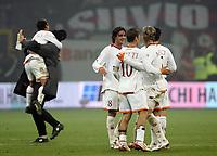 """Pizarro Curci Aquilani Totti Mexes e Panucci festeggiano la vittoria a fine partita<br /> <br /> Italian """"Serie A"""" 2006-07 <br /> <br /> 11 November 2006 (Match Day 11) <br /> <br /> Milan Roma (1-2) <br /> <br /> """"Giuseppe Meazza"""" Stadium-Milano-Italy <br /> <br /> Photographer Andrea Staccioli INSIDE"""