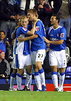 Photo: Dave Linney.<br />Birmingham City v Shrewsbury Town. Carling Cup. 22/08/2006.Birminghams Sebastian Larsson(L) celebrates his goal for Blues
