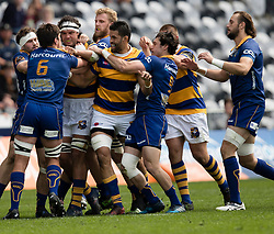 Otago and Bay of Plenty players have a difference of opinion in the Mitre 10 Cup rugby match, Forsyth Barr Stadium, Dunedin, New Zealand, Oct. 7 2017.  Credit:SNPA / Adam Binns ** NO ARCHIVING**