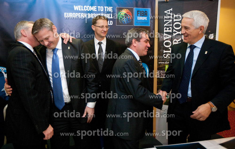 Iztok Rems, general secretary of KZS, Olafur Rafnsson, president of FIBA Europe, Dr. Igor Luksic, Slovenia's Minister of Education and Sport, Roman Volcic, president of KZS and Nar Zanolin, secretary general of FIBA Europe signing a contract at Eurobasket 2013 Candidate presentation of Slovenia at FIBA EUROPE Board on December 05, 2010 in Munich, Germany. The Board decided that Eurobasket 2013 will be in Slovenia. (Photo By Vid Ponikvar / Sportida.com)