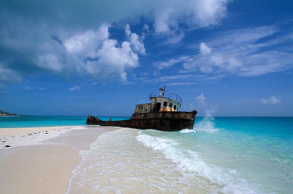 Shipwreck at white sand beach, Williams Town Beach, Little Exuma, Bahamas