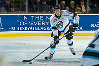 KELOWNA, CANADA - DECEMBER 2: Ryan Pouliot #7 of the Kootenay Ice passes the puck against the Kelowna Rockets on December 2, 2017 at Prospera Place in Kelowna, British Columbia, Canada.  (Photo by Marissa Baecker/Shoot the Breeze)  *** Local Caption ***