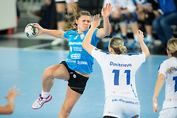 Melanie Bak #9 of Krim Mercator during handball match between RK Krim Mercator (SLO) and Dinamo - Sinara (RUS) in 4th Round of Women's EHF Champions League 2014/15, on November 9, 2014 in Arena Stozice, Ljubljana, Slovenia. Photo by Vid Ponikvar / Sportida