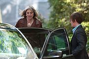 Home Secretary Theresa May leaving No 10 Downing street after taking todays COBRA meeting on August 15th 2011..Top of the agenda was to deal with the riots that spread across the country last week,  from London to parts of the East and West Midlands, Merseyside, Bristol, Manchester and Gloucester..Photographs by Ki Price..