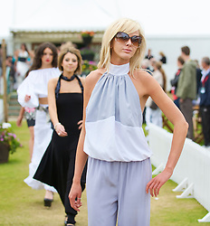 LIVERPOOL, ENGLAND - Saturday, June 20, 2009: Laura Geraghty of John Alexander Model Agency wearing the new Summer/Autumn collection from AllMac Designs during a fashion show on Day Four of the Tradition ICAP Liverpool International Tennis Tournament 2009 at Calderstones Park. (Pic by David Rawcliffe/Propaganda)