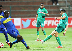 23102018 (Durban) Cape Town City defence player Mpho Matsi hold a ball from Amazulu Player Emiliano Tade during the first round of the Telkom Knockout concludes on Tuesday night when Amazulu walloped the MTN8 Cup winners Cape Town City  2-0 at the King Zwelithini stadium. Making their way to the quarter finals were they would be playing against Orlando Pirates.<br /> Picture: Motshwari Mofokeng/African News Agency (ANA)