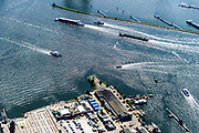 Nederland, Noord-Holland, Amsterdam, 29-06-2018; ZIcht op Oude Houthaven met Haparandadam. Druk scheepvaartverkeer op het IJ. Onder in beeld KNSM werf.<br /> Busy shipping traffic on the IJ.<br /> <br /> luchtfoto (toeslag op standard tarieven);<br /> aerial photo (additional fee required);<br /> copyright foto/photo Siebe Swart