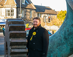 Loanhead, Midlothian, Scotland, United Kingdom, 18 November 2019. General Election campaigning:  SNP Depute Leader Keith Brown MSP joins Owen Thomson, SNP candidate for Midlothian, on the campaign trail at Fountain Green, Loanhead. Pictured: Owen Thomson.<br /> Sally Anderson | EdinburghElitemedia.co.uk