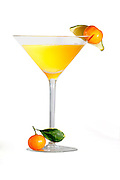 Yellow Martini With Orange And Lime