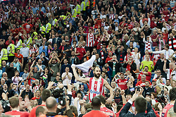 © Licensed to London News Pictures. 12/05/2013. London, UK.   Vassilis Spanoulis  of Olympiacos Piraeus celebrates amongst their fans after his team play and beat Real Madrid in the Final of the Euroleague Basketball Final Four at The O2 Arena.   The Turkish Airlines Euroleague, commonly known as the Euroleague, is the highest level tier and most important professional club basketball competition in Europe, with teams from up to 18 different countries, members of FIBA Europe. Photo credit : Richard Isaac/LNP