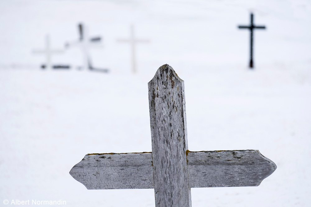 Cemetery crosses in snow storm, Snaefellness Peninsula, Iceland