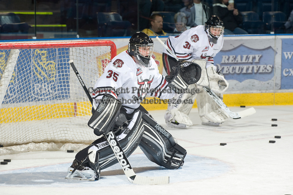 KELOWNA, CANADA, NOVEMBER 9: Patrik Bartosak #35 of the Red Deer Rebels defends the net during warm up as the Red Deer Rebels visit the Kelowna Rockets  on November 9, 2011 at Prospera Place in Kelowna, British Columbia, Canada (Photo by Marissa Baecker/Shoot the Breeze) *** Local Caption ***