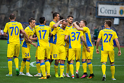 Domzale players during football match between NK Domzale and FC Lusitanos Andorra in second leg of UEFA Europa league qualifications on July 7, 2016 in Andorra la Vella, Andorra. Photo by Ziga Zupan / Sportida