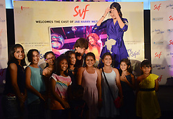 August 5, 2017 - Kolkata, West Bengal, India - Shahrukh Khan and Anushka Sharma gives poses with the children during their film promotion during their film promotion Jab Harry met Sejal in Kolkata. Actor Shahrukh Khan, Actress Anushka Sharma and Film Director Imtiaz Ali meet press during promotion of their film Jab Harry met Sejal on August 5, 2017 in Kolkata. (Credit Image: © Saikat Paul/Pacific Press via ZUMA Wire)