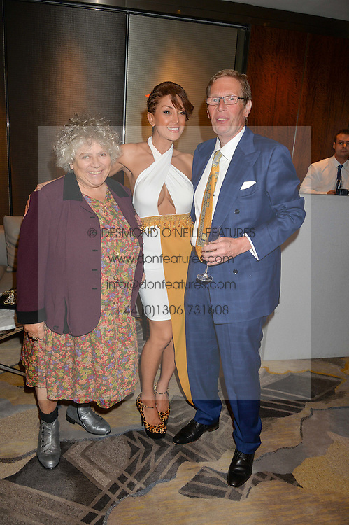 Left to right, MIRIAM MARGOLYES and JEFF & MAYA SAMUEL at a party to celebrate Jack Petchey's 90th birthday in association with the Stroke Association held at the Shangri-La Hotel, Level 34, The Shard, London on 13th July 2015.