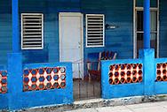 Blue house in Santa Cruz del Norte, Mayabeque, Cuba.