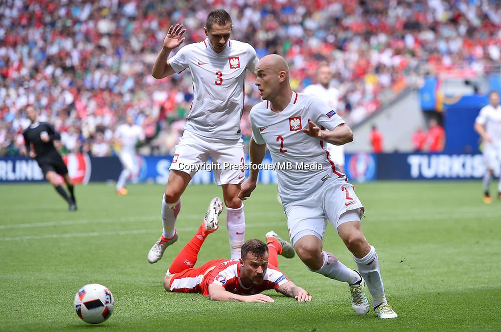 2016.06.25 Saint-Etienne<br /> Pilka nozna Euro 2016<br /> mecz 1/8 finalu Szwajcaria - Polska<br /> N/z Michal Pazdan<br /> Foto Lukasz Laskowski / PressFocus<br /> <br /> 2016.06.25<br /> Football UEFA Euro 2016 <br /> Round of 16 game between Switzerland and Poland<br /> Michal Pazdan<br /> Credit: Lukasz Laskowski / PressFocus