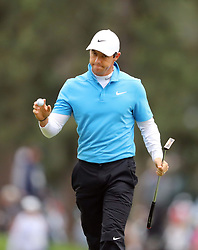 April 7, 2018 - Augusta, GA, USA - Rory Mcllroy celebrates his birdie on the 3rd hole during the third round of the Masters Tournament on Saturday, April 7, 2018, at Augusta National Golf Club in Augusta, Ga. (Credit Image: © Curtis Compton/TNS via ZUMA Wire)