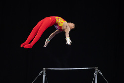 MELBOURNE, Feb. 24, 2019  China's Zhang Chenglong competes during men's high bar final at World Cup Gymnastics in Melbourne, Australia, on Feb. 24, 2019. Hidetaka Miyachi won the gold medal with a score of 14.733. Zhang Chenglong won the bronze medal with a score of 14.333. (Credit Image: © Eilzabeth Xue Bai/Xinhua via ZUMA Wire)