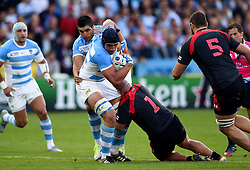 Tomas Lavanini of Argentina takes on the Georgia defence - Mandatory byline: Patrick Khachfe/JMP - 07966 386802 - 25/09/2015 - RUGBY UNION - Kingsholm Stadium - Gloucester, England - Argentina v Georgia - Rugby World Cup 2015 Pool C.