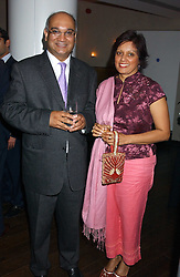 Labour MP KEITH VAZ and his wife at a party to celebrate the opening in London of Delhi's finest Indian restaurant Moti Mahal at 45 Great Queen Street, London WC2 on 27th July 2005.<br />