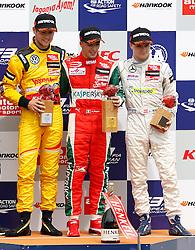 03.08.2014, Red Bull Ring, Spielberg, AUT, Formel 3 Red Bull Ring Spielberg, Rennen, im Bild Tom Blomqvist (GBR/ Jagonya Ayam with Carlin/ Dallara F312 - Volkswagen), Antonio Fuoco (ITA/ Prema Powerteam/ Dallara F312 - Volkswagen) und Lukas Auer (AUT/ kfzteile24 Mücke Motorsport/ Dallara F312 - Volkswagen) // Tom Blomqvist (GBR/ Jagonya Ayam with Carlin/ Dallara F312 - Volkswagen), Antonio Fuoco (ITA/ Prema Powerteam/ Dallara F312 - Volkswagen) und Lukas Auer (AUT/ kfzteile24 Mücke Motorsport/ Dallara F312 - Volkswagen) during the Formula 3 Championships 2014 at the Red Bull Ring, Spielberg, Austria on 2014/08/03, EXPA Pictures © 2014, PhotoCredit: EXPA/ Erwin Scheriau