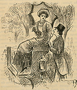 Flirting.  Illustration by George du Maurier (1834-1896) published 1882.