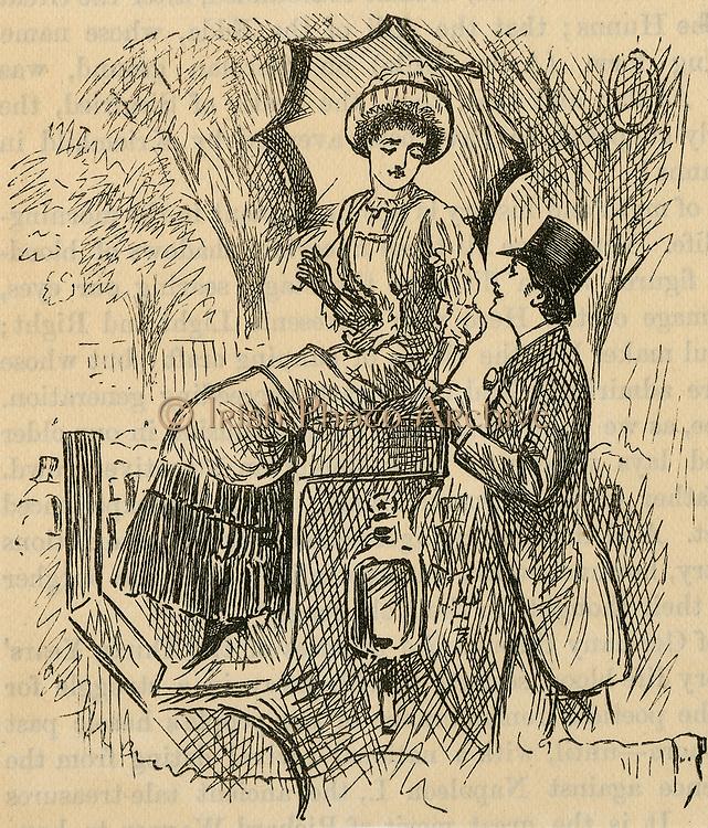 Flirting.  Illustration by George du Maurier (1834-1896) published 1882.