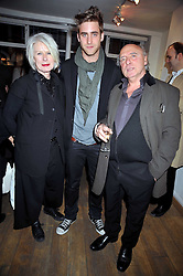 Left to right, BETTY JACKSON, her son OLIVER JACKSON-COHEN and PETER LAW at a private view entitled 'No Love Lost' by artists Daisy de Villeneuve and Natasha Law held at Eleven, 11 Eccleston Street, London SW1 on 31st March 2009.