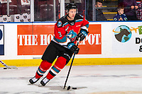 KELOWNA, BC - SEPTEMBER 28:  Sean Comrie #3 of the Kelowna Rockets warms up with the puck against the Everett Silvertips at Prospera Place on September 28, 2019 in Kelowna, Canada. (Photo by Marissa Baecker/Shoot the Breeze)