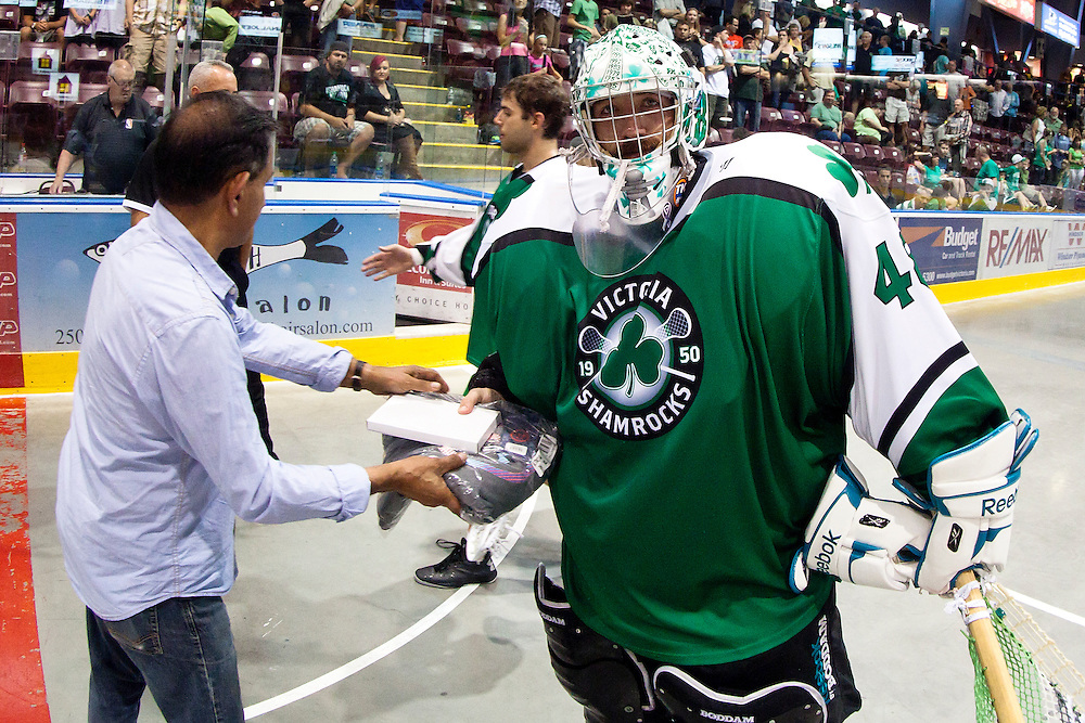 Six Nations Chiefs beat the Victoria Shamrocks Lacrosse Club 8-3 in game 4 of the Mann Cup September 10th, 2013 at Bear Mountain Arena in Victoria B.C. - Kevin Light Photography