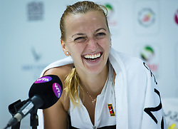 February 21, 2019 - Dubai, ARAB EMIRATES - Petra Kvitova of the Czech Republic talks to the media after winning her quarter-final match at the 2019 Dubai Duty Free Tennis Championships WTA Premier 5 tennis tournament (Credit Image: © AFP7 via ZUMA Wire)