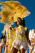 Colourful costumed woman on waggon. Carnival. Mindelo. Cabo Verde. Africa.