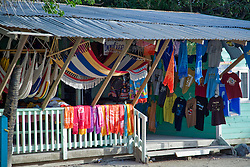 Roatan, Honduras:  A typical boutique on the main drag of West Bay, the commercial settlement at the far end of this barrier island off the north coast of Honduras.
