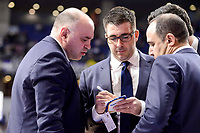 Real Madrid's coach Pablo Laso talking with his assistants during Turkish Airlines Euroleague match between Real Madrid and Maccabi at Wizink Center in Madrid, Spain. January 13, 2017. (ALTERPHOTOS/BorjaB.Hojas)