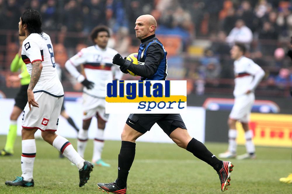 """Esultanza di Esteban Cambiasso Inter.Goal celebration.Milano 22/12/2012 Stadio """"S.Siro"""".Football Calcio Serie A 2012/13.Inter v Genoa.Foto Insidefoto Paolo Nucci."""