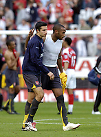 Photo: Olly Greenwood.<br />Charlton Athletic v Arsenal. The Barclays Premiership. 30/09/2006. Arsenal's Robin Van Persie and Thierry Henry celebrate after the game