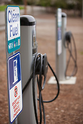 North America, United States, Washington, Bellevue, charging station for electric cars in Bellevue Downtown Park