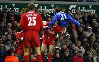 Fotball<br /> Premier League 30.11.2003<br /> Liverpool v Birmingham<br /> Christophe Dugarry - Birmingham<br /> Dietmar Hamann - Liverpool<br /> Foto: Morten Olsen, Digitalsport
