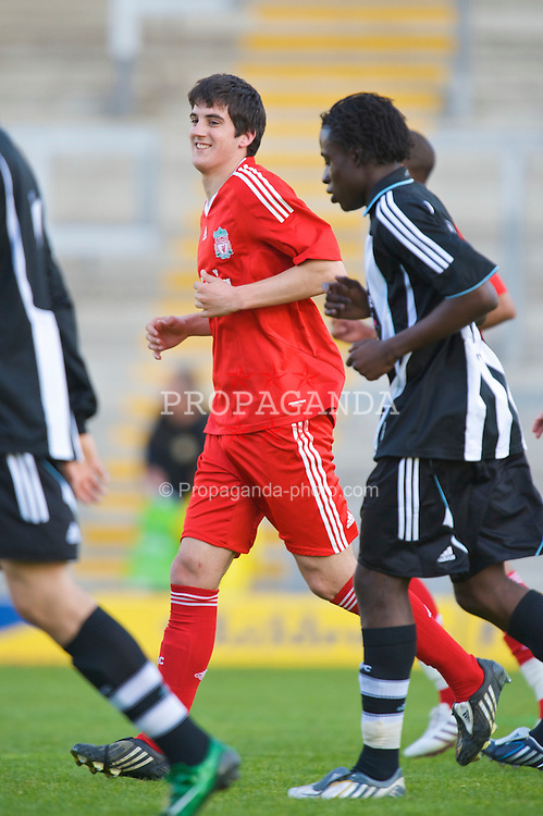 WARRINGTON, ENGLAND - Wednesday, April 29, 2009: Liverpool's Mikel San Jose Dominguez celebrates scoring the opening goal against Newcastle United during the FA Premiership Reserves League (Northern Division) match at the Halliwell Jones Stadium. (Photo by David Rawcliffe/Propaganda)